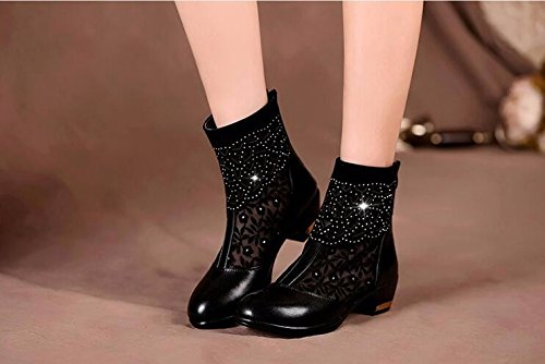 GTVERNH In Spring Black Net Boots Female Short Boots Hollowed Rough Heels Single Boots Middle Heels Gauze Cool Boots Middle-Aged Mothers Leather Shoes. Thirty-eight DyCdk