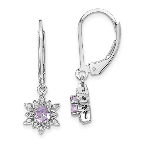 925 Sterling Silver Diamond Pink Quartz Leverback Earrings Lever Back Drop Dangle Fine Jewelry Gifts For Women For Her