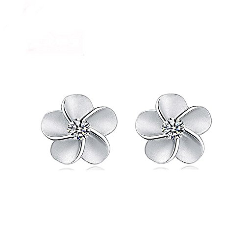 (WKShop 1Pair 925 Sterling Silver Plum Flower Crystal Ear Stud Earrings Women Girl Gift)
