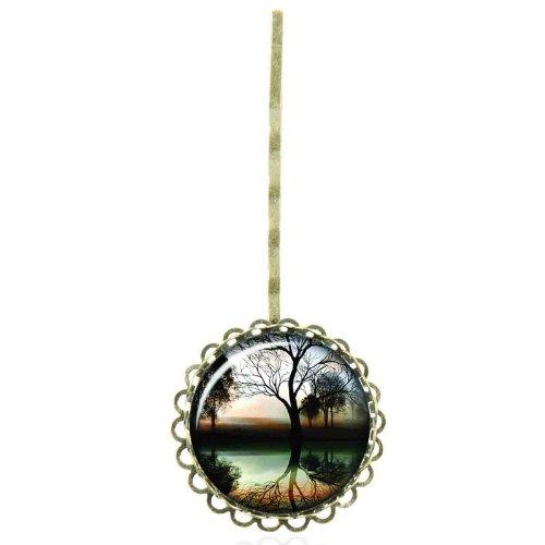 Epingle à cheveux au cabochon vintage à la reflexion d'arbre