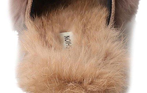 de de Chanclas caseros al Felpa Negro de otoño Zapatos Acentuados Caqui Zapatos Bajos Mujer DANDANJIE Zapatillas Libre Aire Negro y Zapatillas Tacones con O1WCqBZ5