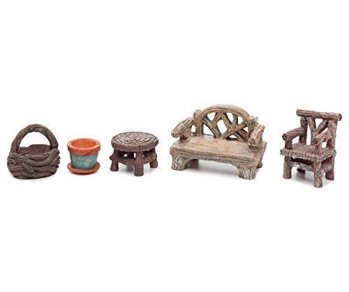 Fairy Garden Accessories, Fairy Garden Seating Collection, 5 piece miniature furniture set (5)