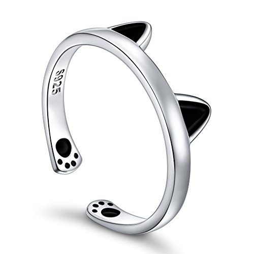 - ALPHM Cute Cat Ear Ring for Women S925 Sterling Silver Adjustable Open Paw Rings