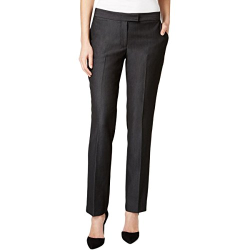 Tahari ASL Womens Petites Mid-Rise Straight Leg Dress Pants Gray 4P