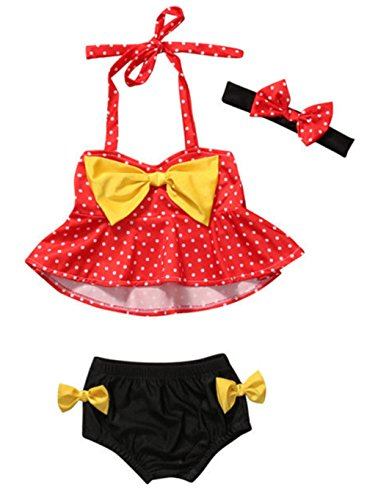 StylesILove Cute Baby Girl Polka Dot Yellow Bowknot Bikini with Headband 3 pcs Set Swimwear Bathing Beach Suit (80/6-12 (3 Piece Polka Dots Bikini)