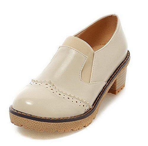 AllhqFashion Damen PU Mittler Absatz Rein Ziehen auf Stiefel, Cremefarben, 39
