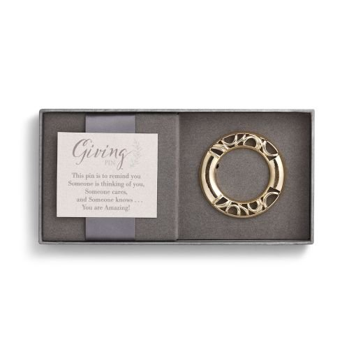 Demdaco Circle Goldtone One Size Women's Metal Giving Pin in Gift Box