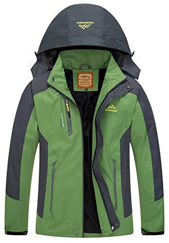 Men Casual Hooded Rain Jacket-Diamond Candy lightweight Waterproof Softshell Raincoat Outdoor Sportswear Green Large