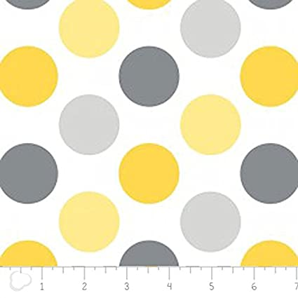 Amazon.com: Flannel Dots White Yellow Gray Fabric by Camelot