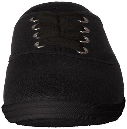 Easy USA Damen Canvas Schnürschuh mit gepolsterter Einlegesohle Schwarz
