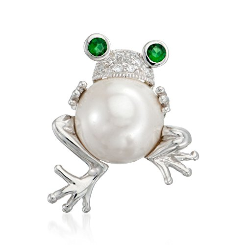 Ross-Simons 14mm Simulated Pearl and Simulated Emerald Frog Pin Pendant With Czs in Sterling Silver