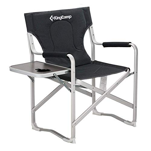 - KingCamp Director Chair Full Back Folding Aluminum Padded Portable Heavy Duty Comfort Sturdy with Armrest Side Table and Cup Holder for Camping, Supports 300lbs