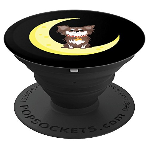 Scruffy Puppy Dog Crescent Moon Night Doggy - PopSockets Grip and Stand for Phones and Tablets