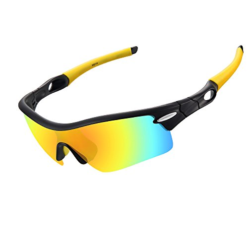 Ewin E02 Polarized Sports Sunglasses with 5 Interchangeable Lenses for Men Women Cycling Driving Running Hiking Glasses