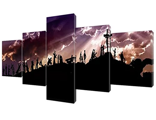 Islamic Wall Art Decor Jesus Crucifixion Canvas Religious,Belief,Hope Paintings 5 Piece Canvas Pictures Home Decor for Living Room,Artwork Framed Giclee Gallery-wrapped Ready to Hang(50''Wx24''H)