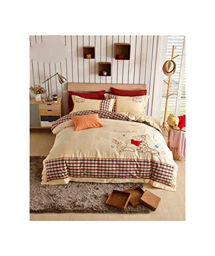 (QQPINDA Kids' Bedding Winnie The Pooh Comforter Bedding Set Kids 100% Egyptain Cotton Bed Sets Embroidered)