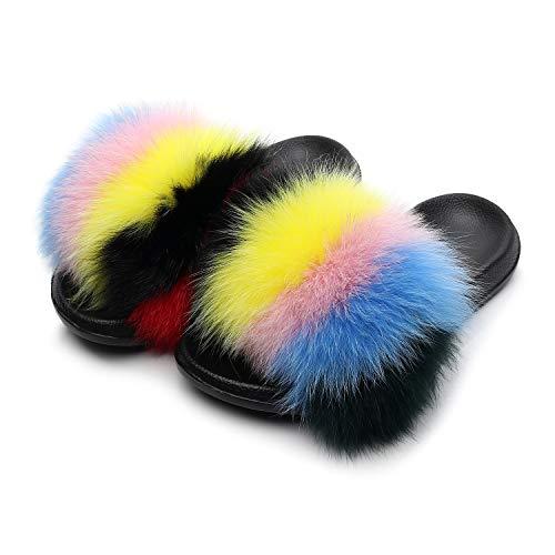 HONGTEYA Real Fox Fur Slides Sandals for Women 20+ Styles Toddler Girls Feather Slip On Summer Furry Slippers Flip Flops Shoes Flats (11 M US Toddler, Rainbow2)]()