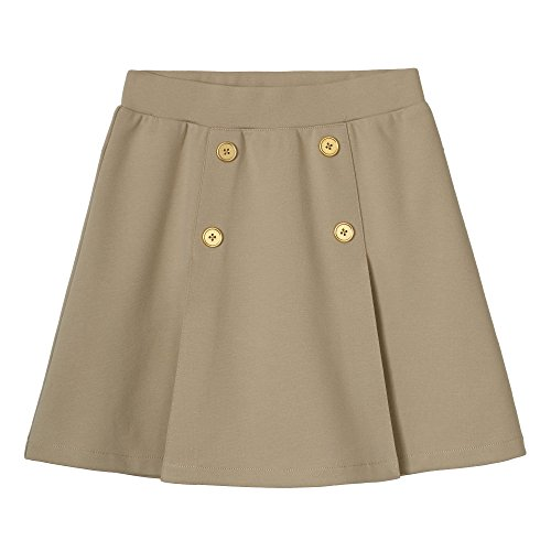 French Toast Girls' Big' Pull-on Pleat Scooter, Khaki, L - French Toast Pleats Shorts