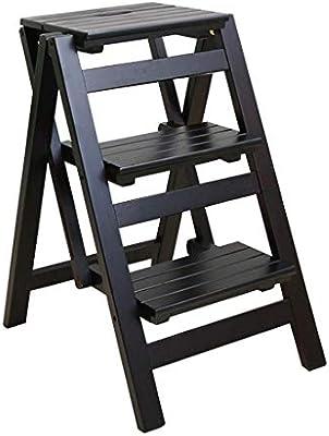 MultifuncióN Estante Almacenamiento Baldas Escaleras de tijera Taburete plegable 3 escalones Madera for niños Adultos Ligero y plegable Biblioteca de cocina en el hogar Estantería de escalera tipo lof: Amazon.es: Hogar