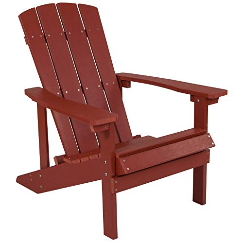 (Flash Furniture Charlestown All-Weather Adirondack Chair in Red Faux Wood - JJ-C14501-RED-GG)