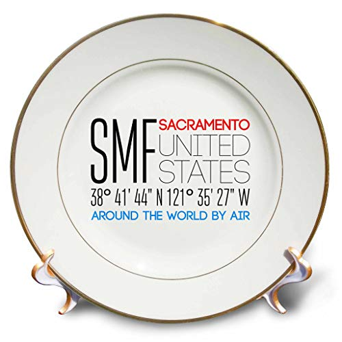 - 3dRose Alexis Design - Around The World by Air - Impressive Text SMF, Sacramento, United States, Location Coordinates - 8 inch Porcelain Plate (cp_311082_1)