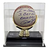 Pete Rose Autographed Signed MLB Baseball Sorry I Bet on Baseball inscription With Deluxe Baseball Display Case