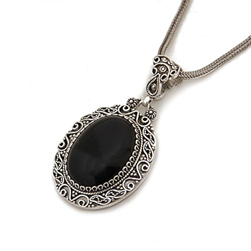 - 925 Sterling Silver Black Onyx Oval Filigree Pendant Necklace with Silver Chain