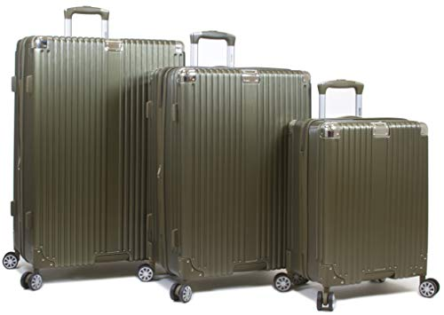 Dejuno Moda Scratch Resistant 3-Piece Hardside Spinner Luggage Set-Olive ()