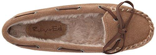 Ruby and Ed Moose Suede - pantuflas con forro cálido de cuero mujer Beige - Beige (Acorn)