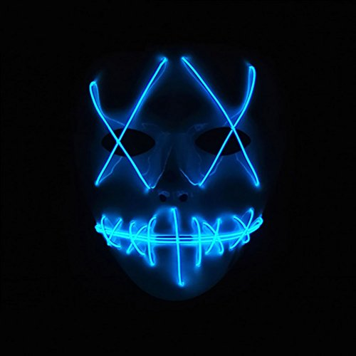 AODEW Halloween Costume Party Mask Luminous Skull Full Face Mask Horror Skeleton Cosplay LED Light Flashing Mask Glow in Dark for Carnival Festival Party -