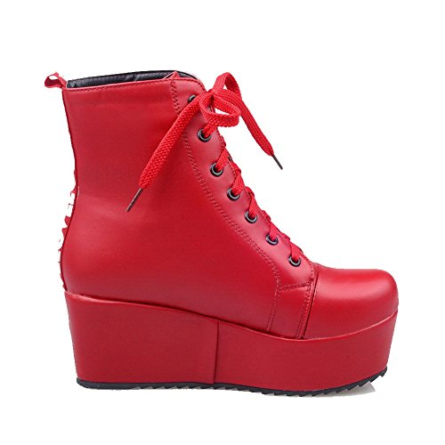 Closed Solid Kitten Toe Soft Low Material Women's Round Boots Top Allhqfashion Red Heels AwxH6In