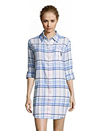 Womens Flannel Cotton Plaid Button Down Dormshirt Pajamas