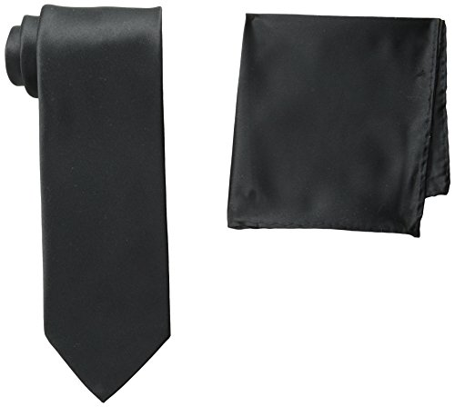 Stacy Adams Men's Tall Plus Size Satin Solid Tie Set Extra Long, Black, One