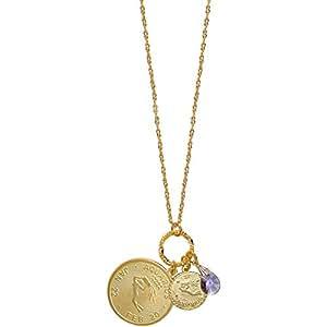Mystical Sun Sign Horoscope Zodiac Pendants Necklace with Swarovski Crystal, Usa, Aquarius / February Birthstone in Gold Tone with Matte Finish