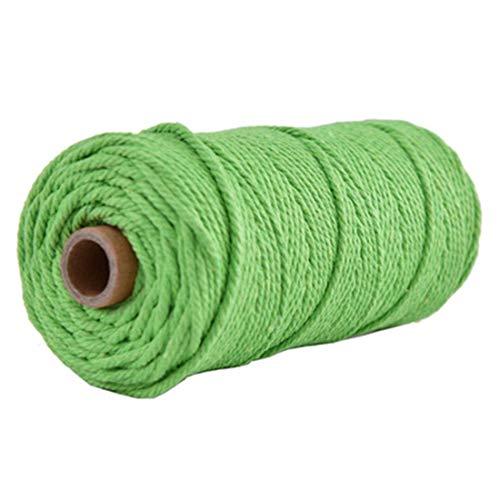 Macrame Cord 3mm 4mm -Black Gray White Cotton Cord -100% Natural Cotton String -Macrame Pattern -Craft Yarn -Rope (Light Green, 3mm)