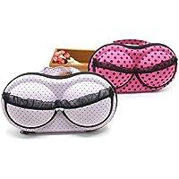 June Fox 2Pcs Travel Home Organizer Zip Bag Case Bra Underwear Lingerie Case Storage Bag Fit A/B/C Cups