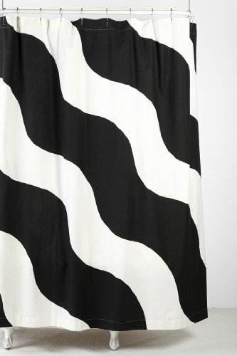 Urban Outfitters Wiggle Black   White Wavy Stripe Fabric Shower Curtain