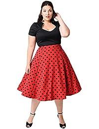 Women's Plus Size 50s Vintage Classic Polka Dot Swing Pinup Rockabilly Dress
