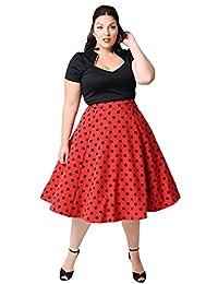 Q&Y Women's Plus Size 50s Vintage Classic Polka Dot Swing Pinup Rockabilly Dress