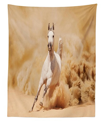 Lunarable Horses Tapestry Twin Size, Arabian Horse Breed Running Out of The Desert Storm Sand High Tail Creature Nature, Wall Hanging Bedspread Bed Cover Wall Decor, 68 W X 88 L inches, Cream White by Lunarable