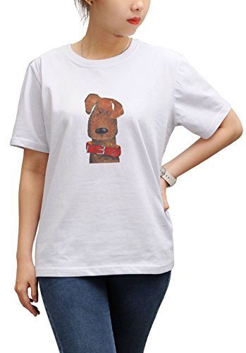 Dog in red dog collar Print Cotton Short Sleeves Loose Top Tee Shirt WTS_17 (Print Cotton Dog Collar)