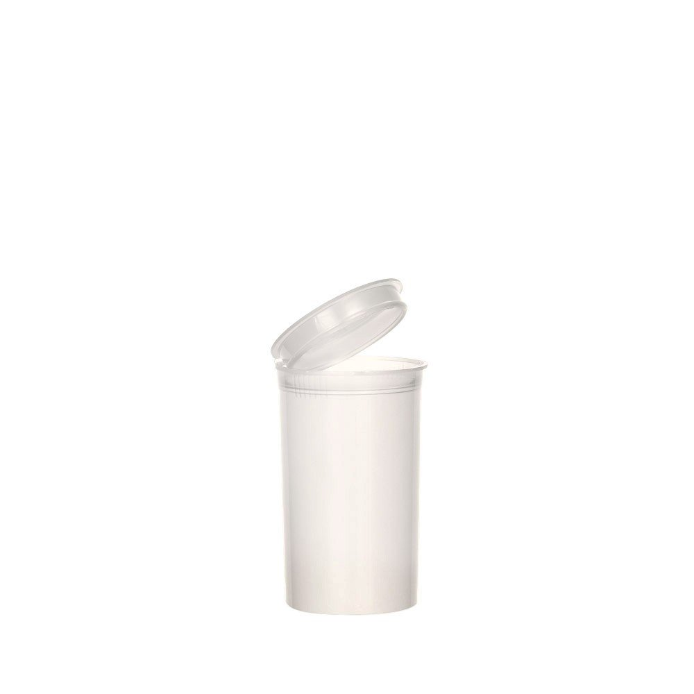 1.64'' x 2.75'' White Colored Pop Top Bottle 19 Dram (2 Boxes - 225 Contaiers per Box) - MJ-PVW19