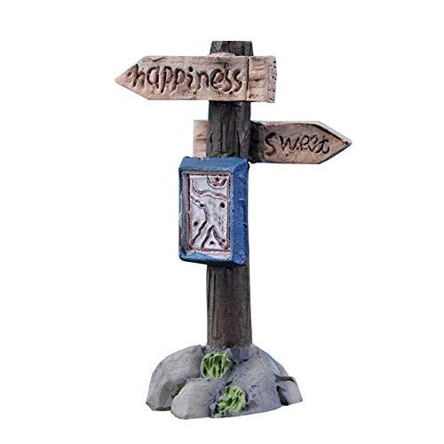 Wicemoon 1 Pcs Resin Sign Board Bonsai Figurines Micro Landscape Crafts Signboard Miniatures Fairy Garden Moss Terrarium Decor (E)