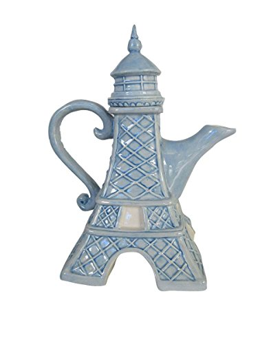 "Blue Sky Ceramic 7.75"" x 5.5""9.5"" Eiffel Tower Teapot"