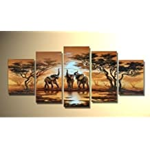 hand-painted promotion free shpping framed on the back oil wall art African grasslands elephant sun home decoration abstract Landscape oil painting on canvas 5pcs/set