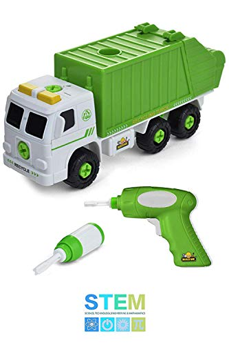 - Take Apart Recycling Truck with Sounds, Power Drill, Build Your Own Garbage Truck with 30 Piece Set, Educational STEM Toys for Toddlers, Engineering Building Kit Ages 3 to 6