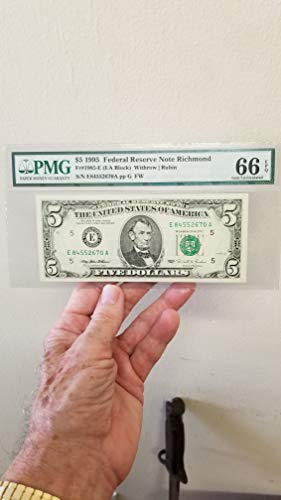 1995 $5 RICHMOND FEDERAL NOTE-PMG CERTIFIED 66 GEM UNCIRCULATED W/EXCEPTIONAL PAPER QUALITY -NEAR FLAWLESS FRN CURRENCY-VERN'S CARD & COIN $5 66 PMG ()