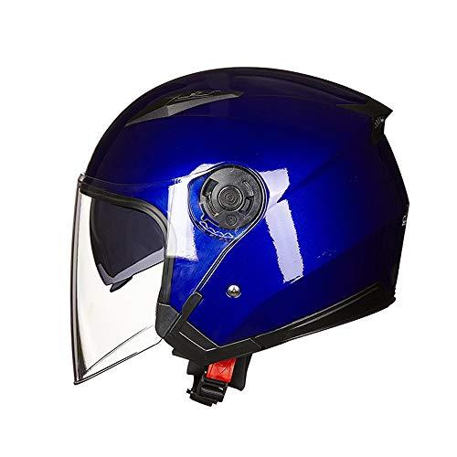 L.J.JZDY Motorradhelm Motorrad-Sturzhelm for Männer Frauen Anti-Fog Doppel-Objektiv-halber Gesichts-Sturzhelm…