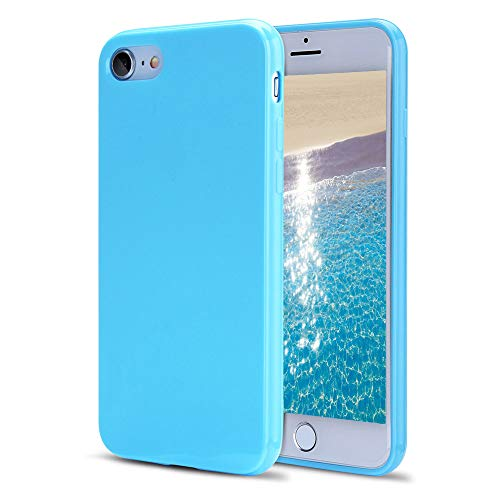 iPhone 8 Case, iPhone 7 Case, FGA Sugar Candy Cute High Quality Shockproof Protective Slim Fit Solid Color Soft Flexible TPU Gel Case Cover for iPhone 8(2017), iPhone 7(2016) 4.7 inch(Sky Blue)