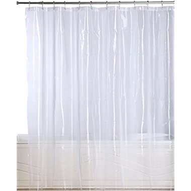 Premium Mildew Resistant Shower Curtain - Anti-bacterial 10-Gauge Heavy-Duty Curtain - Waterproof and Water-Repellent - 72x72 Inch - Clear